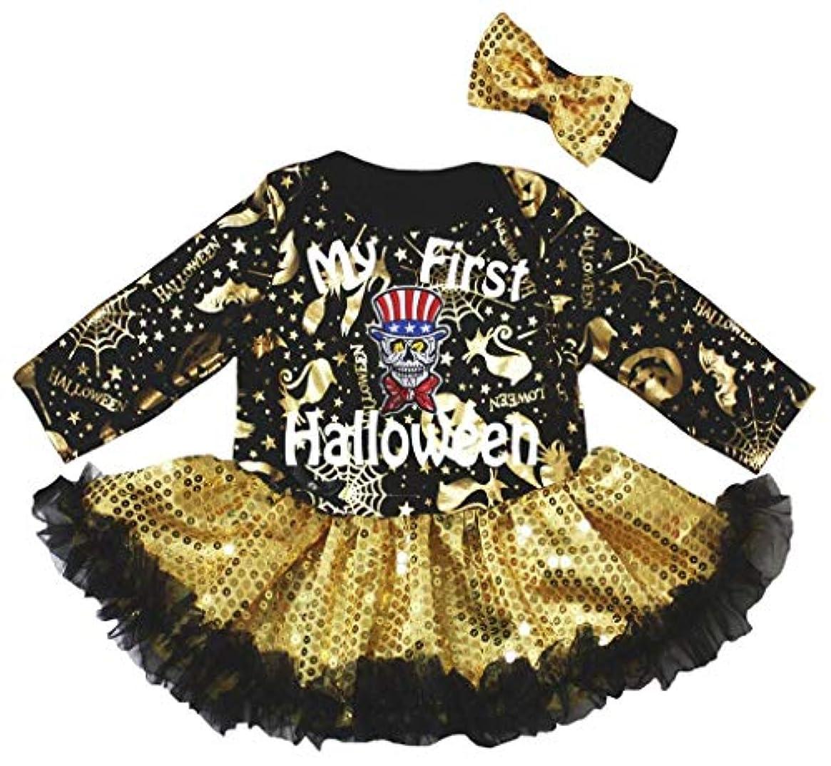 科学殺人フィッティング[キッズコーナー] ハロウィン My First Halloween ゴールド パンプキン 長袖 子供コスチューム、子供のチュチュ、ベビー服、女の子のワンピースドレス Nb-18m (ブラック, Small) [並行輸入品]