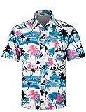 APTRO(アプトロ)アロハシャツ メンズ 通気速乾 超軽量 ゆったり プリント 夏 ファンション ハワイ 半袖シャツ HW009 日本M(タグ S)