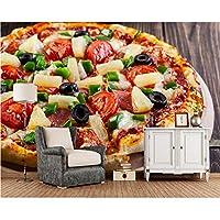 Wuyyii ピザパイナップルオリーブトマト食品3D壁紙、リビングルームキッチンレストランファーストフードショップコーヒーショップ壁画-200X140Cm