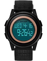 Vemupohal デジタル腕時計 8mm超軽い 超薄い スポーツウォッチ ストップウォッチ カウントダウン 50M防水 LED ランニング ジョギング メンズ こども 多機能 アウトドア (ブラック)