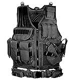 (上海物語)Shanghai Story アウトドア 装備品セット フリーサイズ調整可 特殊部隊・ミリタリー仕様の本格 タクティカルベスト・スナイパージャケット フリーサイズ ブラック