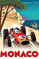 レトロなモナコ旅行 Retro Monaco travel Painting silk fabric poster シルクファブリックポスター 90cm x 60cm