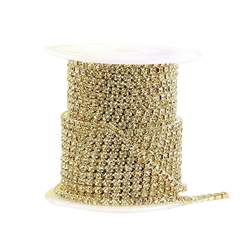 貨物記述するあそこMerssavo ダイヤモンドメッシュラップロールクリスタルラインストーンブリボンリボンウェディングデコレーションゴールド2.5ミリメートル