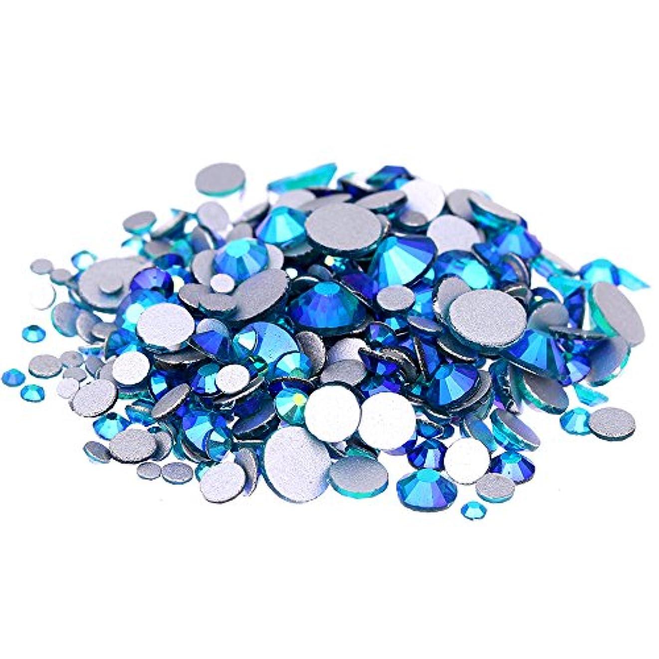 警官として雨Nizi ジュエリー ブランド ブルージルコンオーロラ ラインストーン は ガラスの材質 ネイル使用 型番ss3-ss30 (SS12 1440pcs)