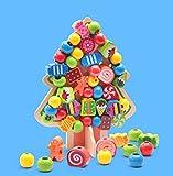 Hometown 知育玩具 ひもとおし 木製 DIY 積み木 クリスマスツリー 玩具 男女共用 収納袋付き (クリスマスツリー)