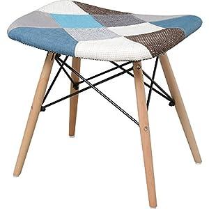 椅子 イームズチェア スツール デザイナーズ リプロダクト パッチワーク ブルー PP-638-Patchwork