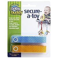Baby Buddy(ベビーバディ) Secure-A-Toy 2ct おもちゃストラップ2色各1本組 ブルー/マンゴー 2本