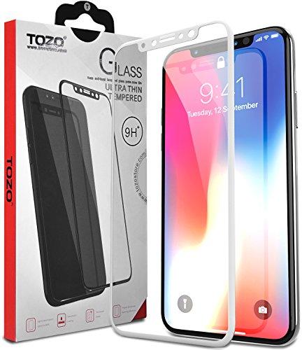 TOZO iPhone X フィルム iPhone 10 / X用 強化ガラス液晶保護フィルム フルカバー ラウンド対応 3D構造[ホワイト]