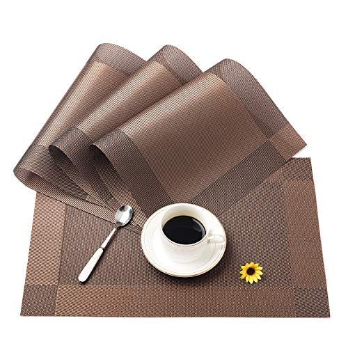 ランチョンマット 北欧 撥水 おしゃれ プレースマット テーブルマットPVC ビニール 防汚 断熱 滑り止め お手入れ簡単 家庭用 レストラン用 ブラウン×4枚