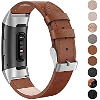 SWEES Leather Bands Compatible Fitbit Charge 3 & Charge 3 SE Fitness Tracker, Genuine Leather Band Strap Wristband for Women Men Small & Large, Black, Rose Gold, Beige, Brown, Grey, Tan