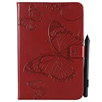 Samsung Galaxy Tab A 8.0 T350 - Protective 女の子 レザーカバー Leather Case/Cover / Bumper/Skin / Cushion - Fashion Art Collection (Red)