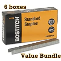 Value Pack of 6 Stanley Bostitch Premium Standard Staples 1/4 Inch Silver 5000 per box (SBS191/4CP) [並行輸入品]
