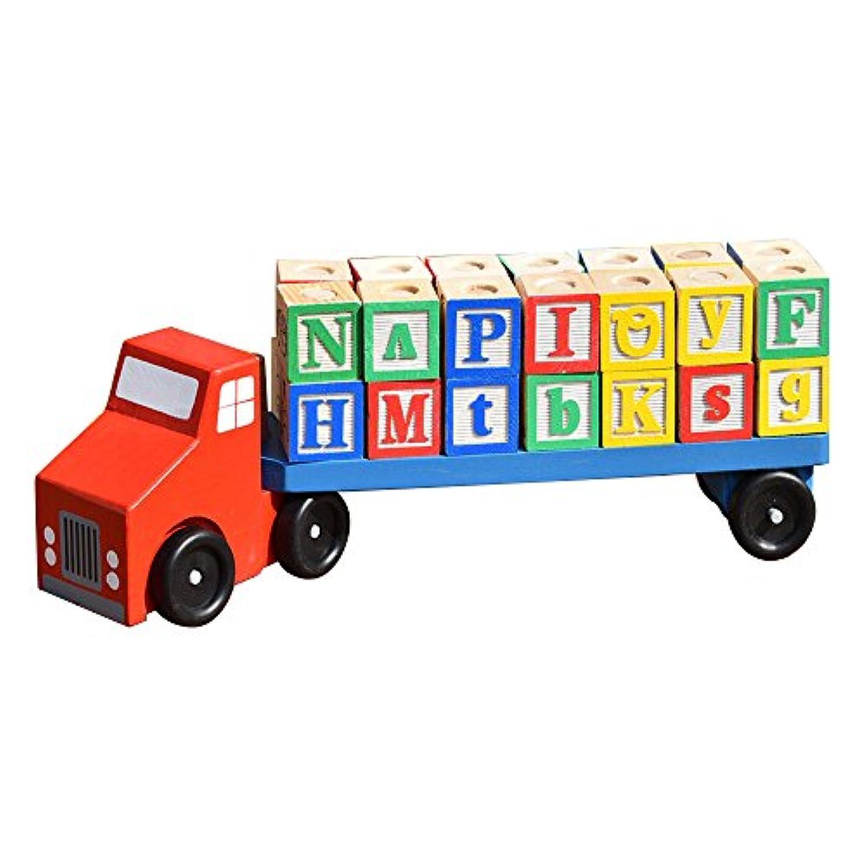 bttoyy 50 Piece ABC木製ブロック子供用木製車セット教育おもちゃfor Children for Fun