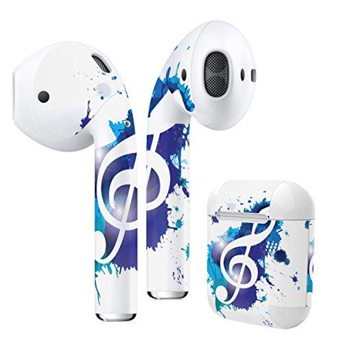 Air Pods 専用 デザインスキンシール airpods エアポッド apple アップル イヤフォン イヤホン カバー デコレーション アクセサリー エアフリー デコシール ラブリー ユニーク 音楽 音符 青 003301