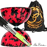 Harlequin Diabolo Set, Metal Diabolo Sticks, Diablo String & Bag (R/Bk)