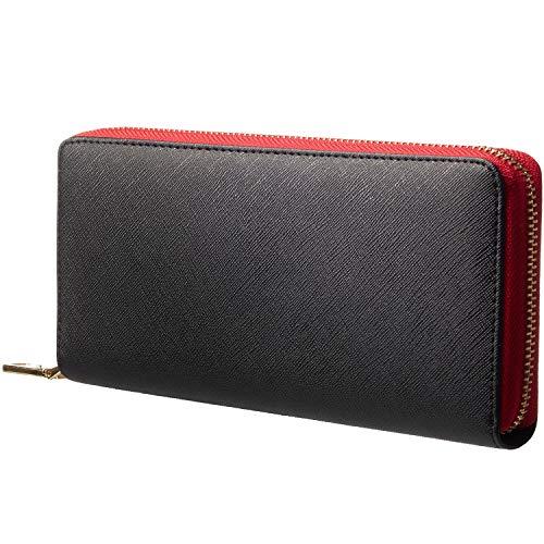 『GLEVIO(グレヴィオ) 財布 メンズ 長財布 ラウンドファスナー 小銭入れ ブラック×レッド』画像