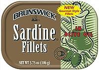 Brunswick Sardine Fillets in Olive Oil, 3.75oz can (Pack of 18)