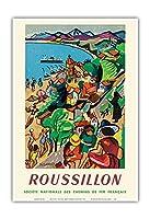 ルシヨン - コリウール、フランス - フランス国有鉄道 - ビンテージな鉄道旅行のポスター によって作成された フランソワ・デノワイエ c.1952 - アートポスター - 33cm x 48cm