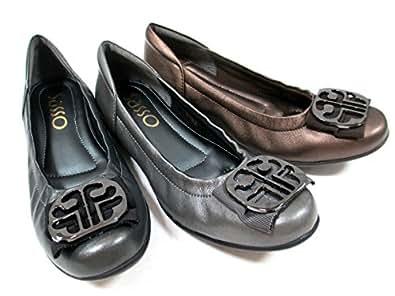【ルームシューズのようなフィット感!!足の動きに合わせて屈曲するしなやかな靴底】 [サッソー] Sasso 102 レディース カジュアルシューズ フラット ラウンドトゥ  革靴 リゾート靴 仕事靴 クシュクシュ ブラックメタ・シルバー・ブロンズ (22.0, ブロンズ)