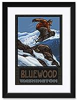 NorthwestアートMall BluewoodワシントンSnowboarder Jumping Framedアートプリントbyポール・A Lanquist。 12x18 / 18x24 inch PAL-0837 NFMF-EB