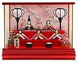 雛人形 リュウコドウ ちりめん ふっくら ひな人形 ケース飾り 五人飾り 丸金柱 キャンディーレッド ラインストーン ガラスケース 1.しだれ桜 カラー h293-rkcp-ca29-3-1-5