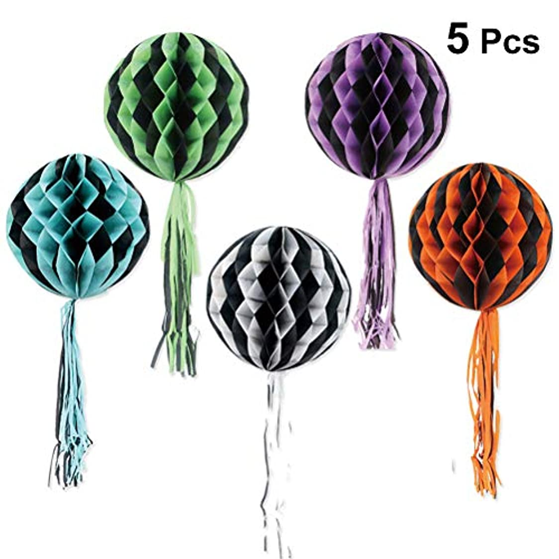 フリル球状ピービッシュBESTOYARD ハロウィン ハニカムボール タッセル ペーパーの提灯 ティッシュ ペーパーハニカムボール ハロウィンパーティーの装飾 5本