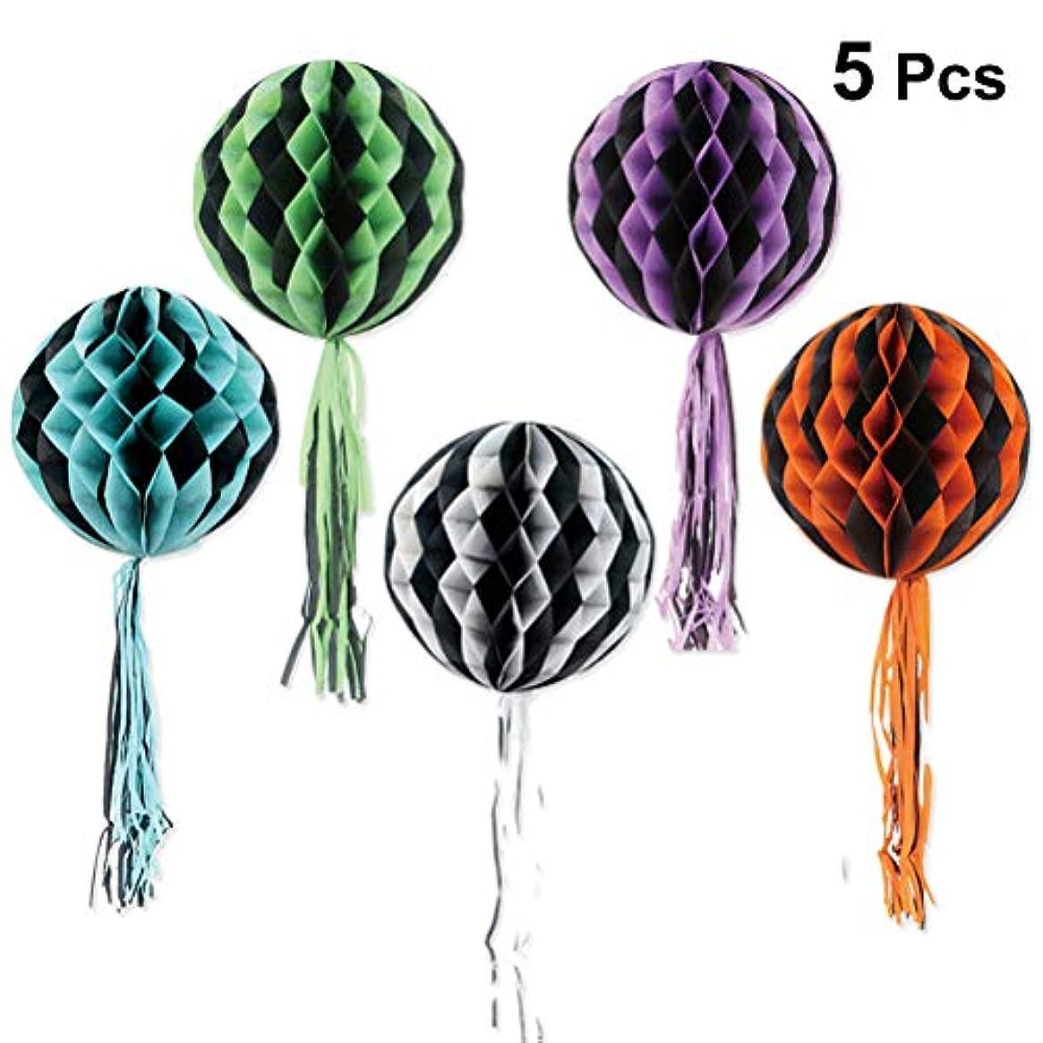 良性幻想的キモいBESTOYARD ハロウィン ハニカムボール タッセル ペーパーの提灯 ティッシュ ペーパーハニカムボール ハロウィンパーティーの装飾 5本