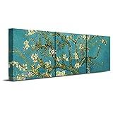 DecoArts アートパネル「Almond Blossoms」「杏」「花咲くアーモンドの木の枝」3パネルセット 40*40cm 壁掛け絵画 壁飾り リビング・オフィス・美術室・モデルルームなどの施設に最適(木枠付きのセットですが、直接に取り付けます)