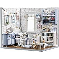 spilay DIYミニチュアドールハウス木製家具キット、ハンドメイドMiniホームモデルwithダストカバー&音楽ボックス、創造1 : 24スケール人形House Toys for Childrenギフト ピンク H03