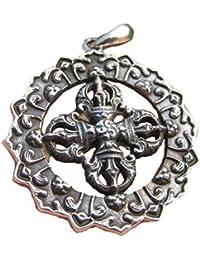 シルバー925 Viswaバジュラドルジェのペンダントネックレスの宝石のアートA2