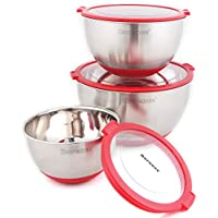 rorence 3 PieceステンレススチールMixing Bowls Set with 3透明蓋 レッド TIP-B-04B