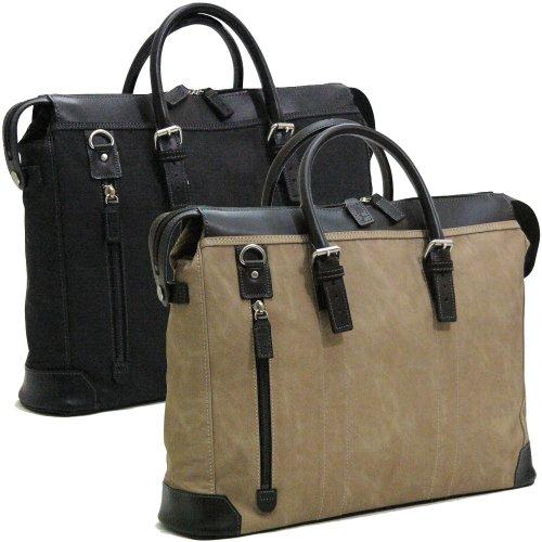 鞄/バック 織人縦ファスナー二本手ビジネスバッグ 本革付属 ブラック(黒)