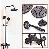 ブラックブロンズバスタブシャワー蛇口セット8インチレインフォールシャワーヘッド+シャワーヘッド&ハンドヘルドシャワーヘッドスプレーヤー