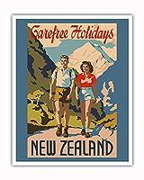 ニュージーランド - ケアフリーの休日 - 山登り - ビンテージな世界旅行のポスター c.1930 - アートポスター - 41cm x 51cm