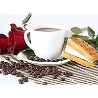 pigbangbang、ハンドメイド20.6X 15.1インチプレミアムBasswood明るいカラフルな500ピースジグソーパズルfor Adult inボックスは、壁画ホームdecoration-good Morning Treatコーヒー花