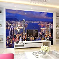 Wuyyii 高品質現代の3Dシティナイトビューカスタム写真の壁紙3Dのリビングルームのテレビの背景の壁紙- 120×100センチ
