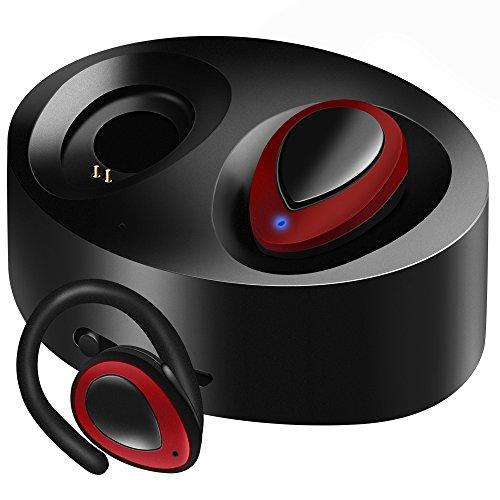 TAROME Bluetooth イヤホン スポーツ 高音質 ワイヤレス ブルートゥース イヤフォン 片耳 両耳とも対応 マイク内蔵 ハンズフリー通話 ノイズキャン 軽量 ミニ型 小型 防汗防滴 (レッド+ブラック)