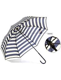 ブルーultraviolet-proof傘ロングハンドル雨傘ブラウンネイビーストライプドーム