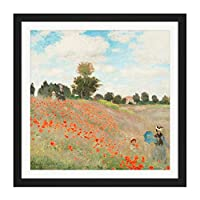 Claude Monet Poppy Field With People Square Wooden Framed Wall Art Print Picture 16X16 Inch クロードモネフィールド人木材壁画像