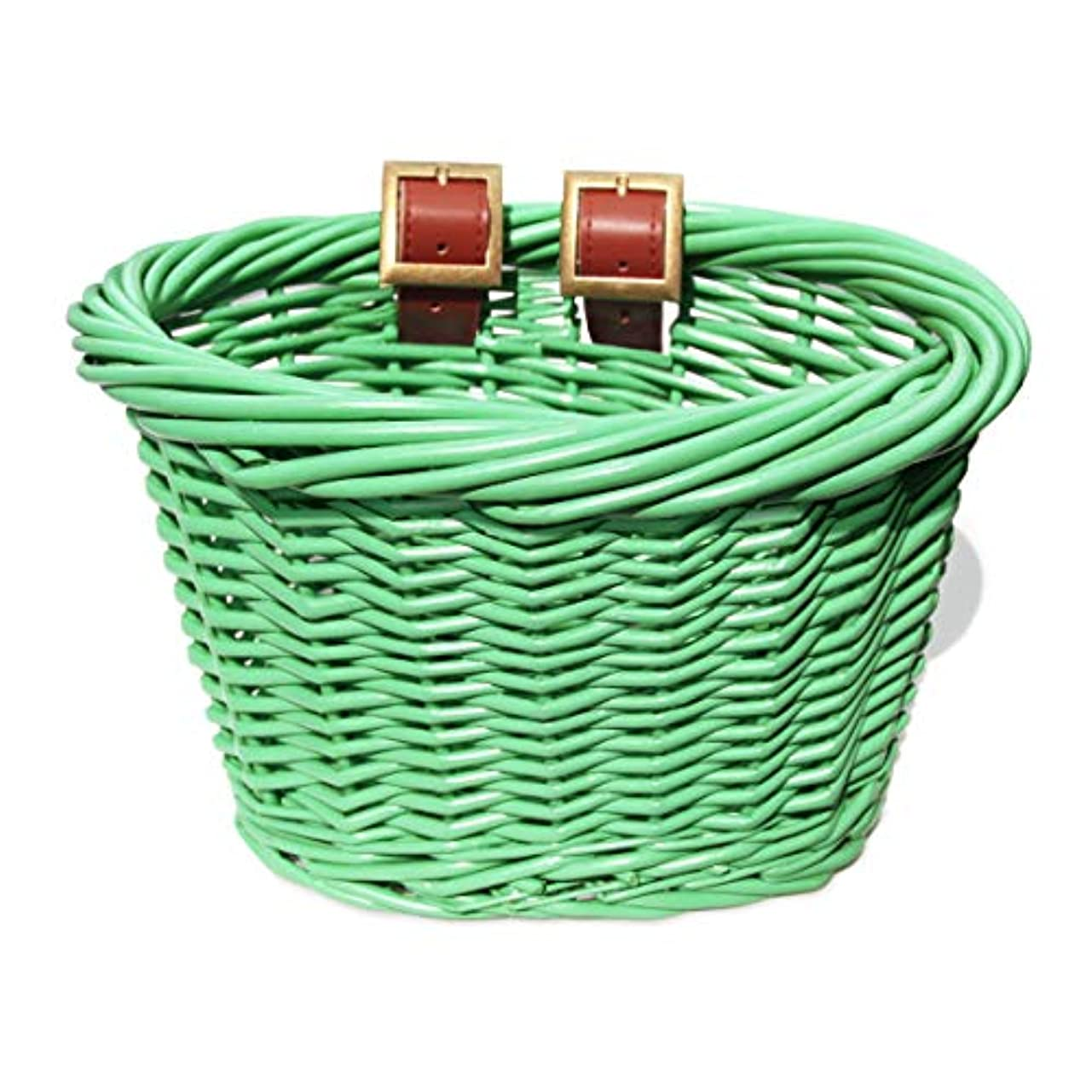 葉資産セーブColorbasket 01518 Kid's Front Handlebar Wicker Bike Basket, Green by Colorbasket