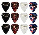 Fender 【4色アソート】 12枚セット(各色3枚) ティアドロップ MEDIUM ギター ピック