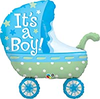 Qualatex 35 Inch Supershape Foil Balloon - Its A Boy Baby Stroller