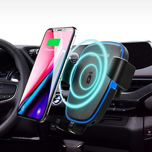 車載qiワイヤレス充電器 車載ホルダー エアコン吹き出し口 360度回転 急速充電 重力原理で自動調節 iPhone X/8/8 Plus/Galaxy S8/S8 Plus/S7/S7 Edge/S6/S6 Edge/Note 8/Note 5/Nexus 5/6 対応(黒)