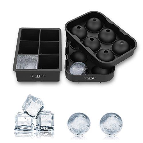 BESTOPE 製氷皿 シリコンまる氷アイストレー 6個大ボール製氷器【2個セット】お茶やお酒用氷が作れる製氷皿 直径4.5cm (ブラック)