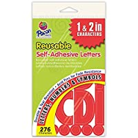 Pacon PAC51659 Self-Adhesive Uppercase Letters - Removable Repositionable Reusable 1 & 2 Red 276 Pieces [並行輸入品]