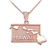 Hawaii HI State島マップペンダントネックレス10Kローズゴールド ゴールド
