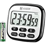 Habor Digital Kitchen Timer, Cooking Timer, Strong Magnet Back, Loud Alarm, Memory Function, Classic Black, Standard