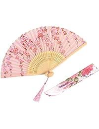 QBSM 扇子 女性 レディース 職人の手作り 絹 シルク 蝶桜 花柄 工芸扇子 和風 高級感 扇子袋付 花火の日 母の日 プレゼントおみやげ 暑さ対策 長さ21cm 男女兼用