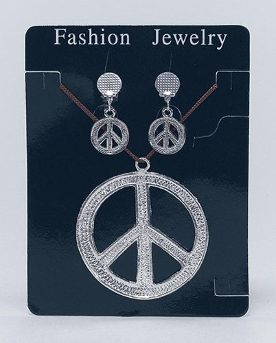 Bristol Novelty Silver Peace Sign Necklace & Earri...