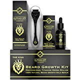 Beard Growth Kit - Derma Roller for Beard Growth .5mm + Facial Hair Growth Activator Serum   Microneedle Beard Roller for Men Hair Growth & Organic Beard Oil - Beard Stimulator   Free Grow Beard Guide